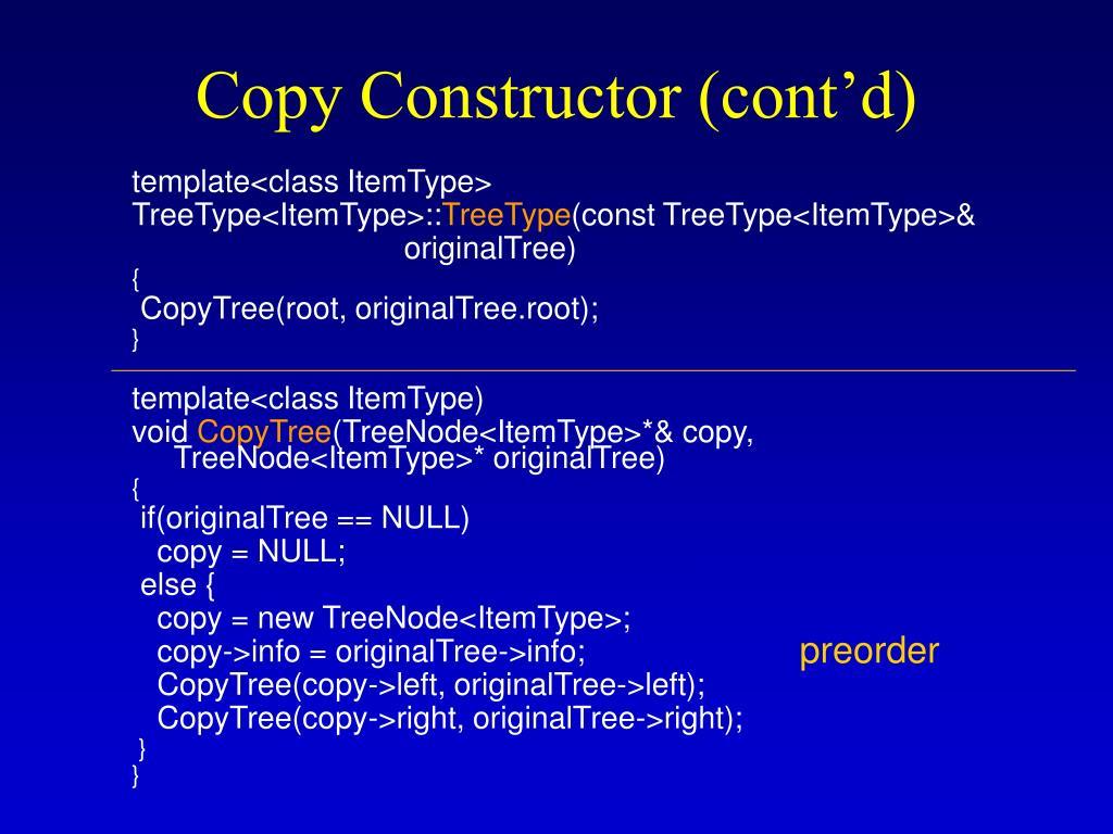Copy Constructor (cont'd)