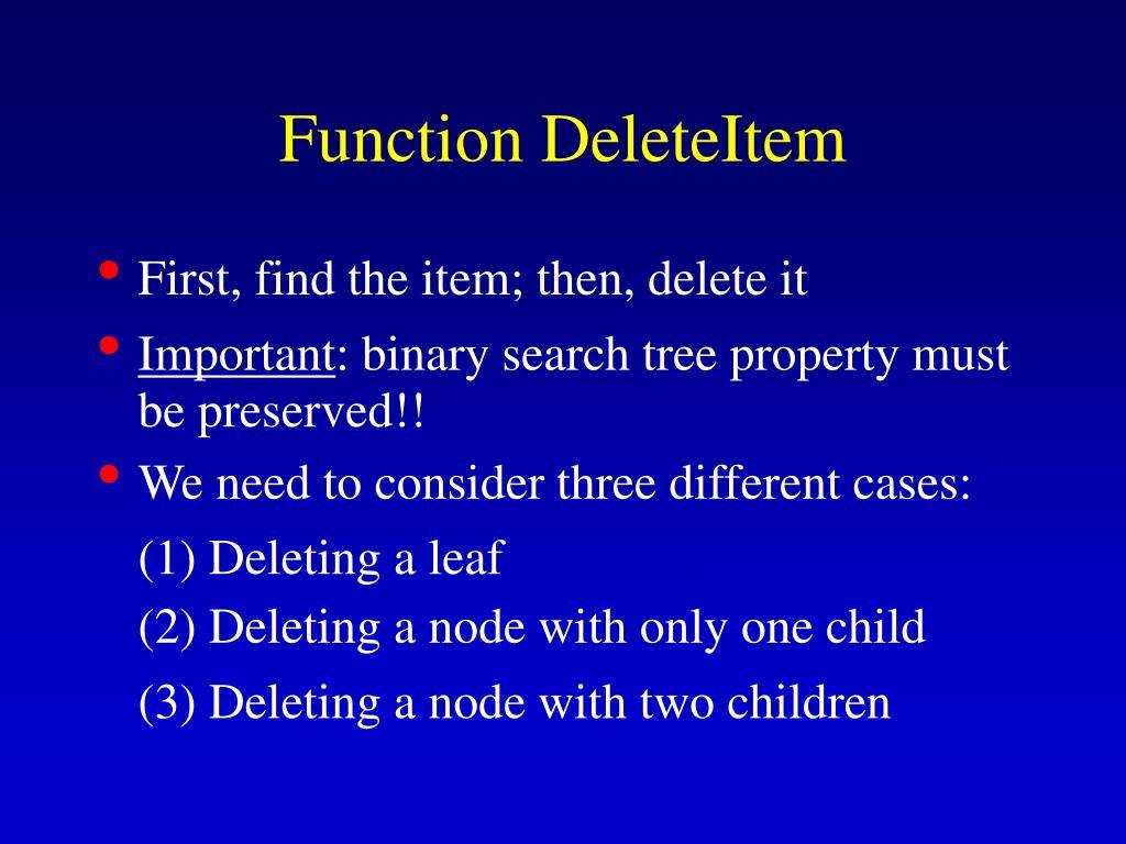Function DeleteItem