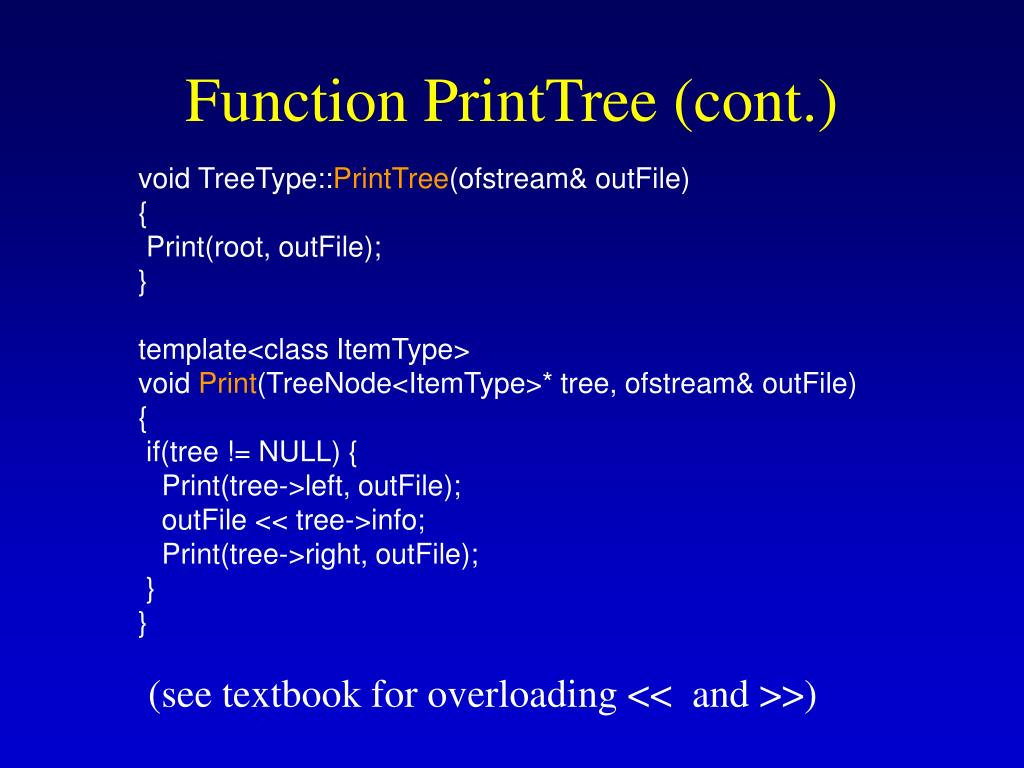 Function PrintTree (cont.)