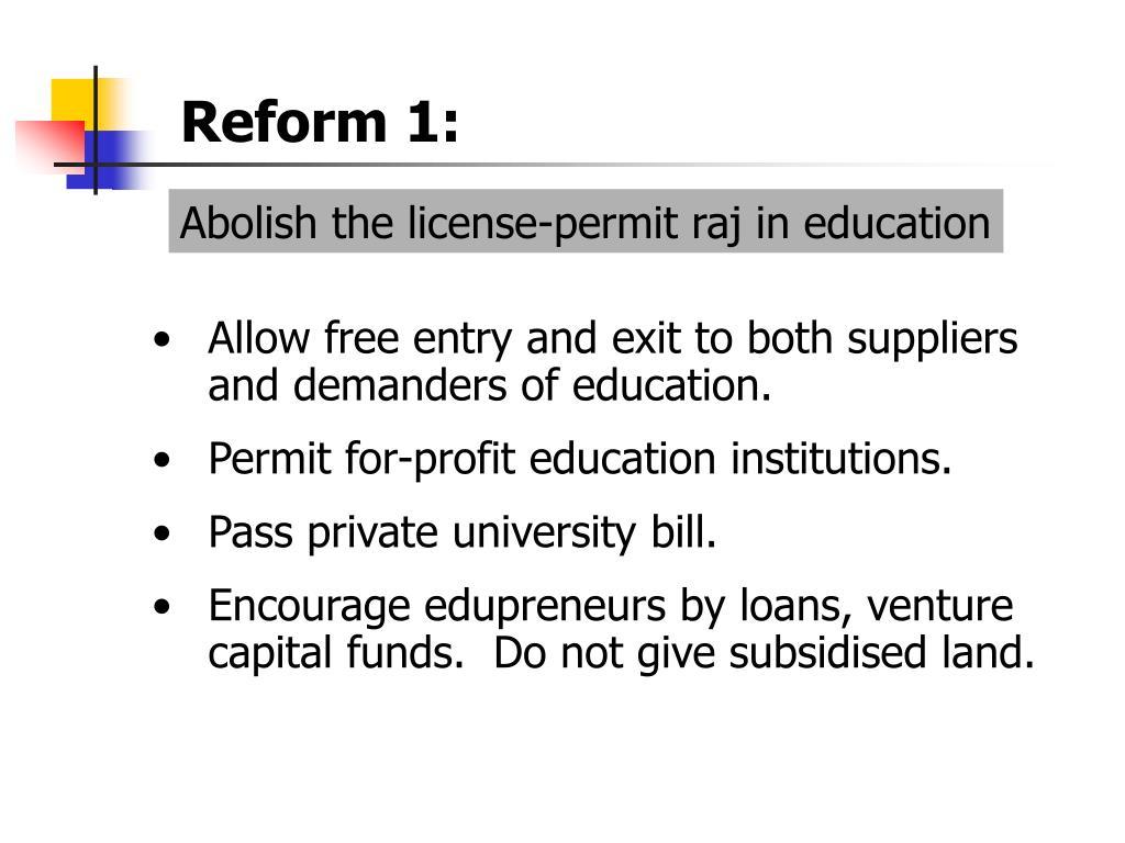 Reform 1: