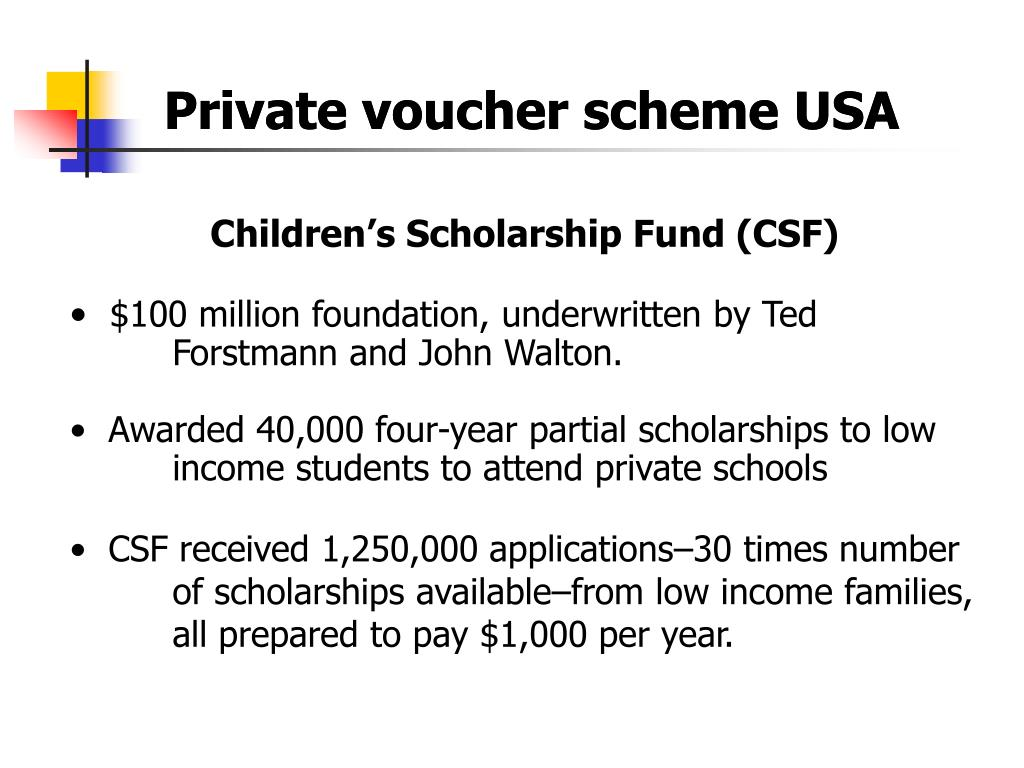 Private voucher scheme USA