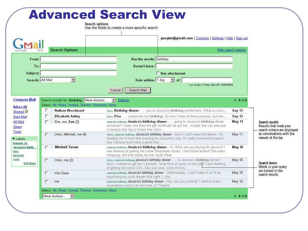 Advanced Search View