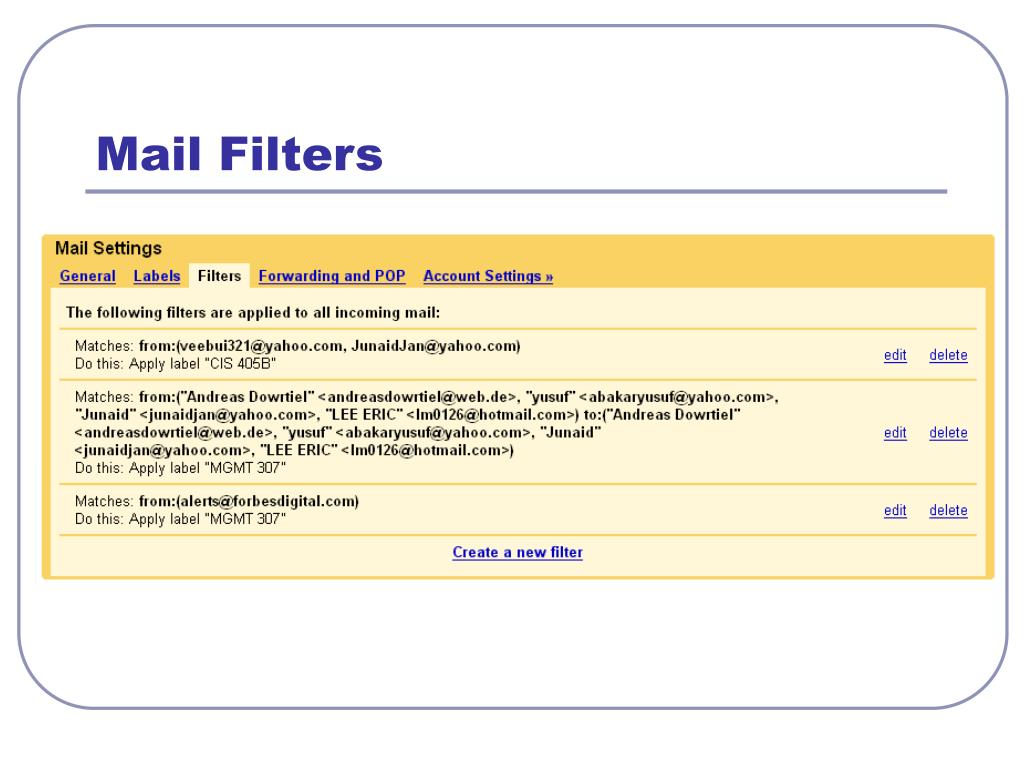 Mail Filters