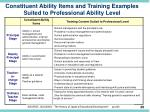 constituent ability items and training examples suited to professional ability level