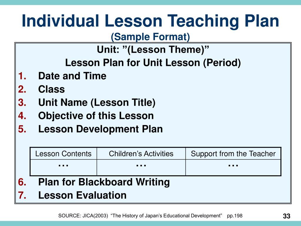 Individual Lesson Teaching Plan