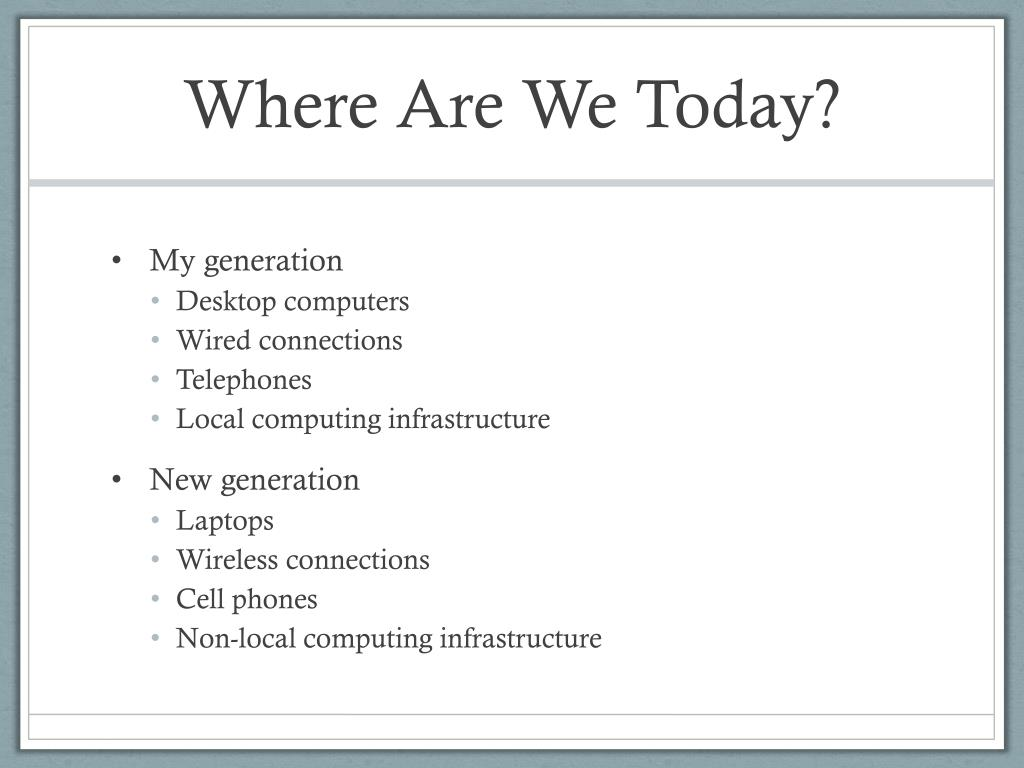 Where Are We Today?