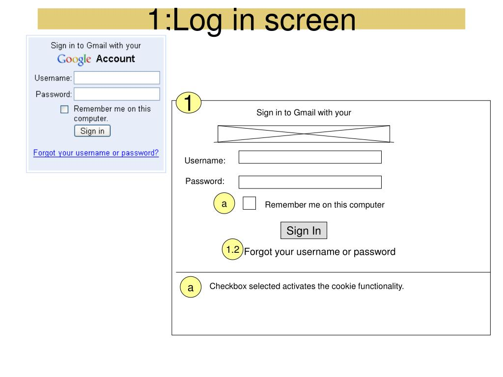 1:Log in screen