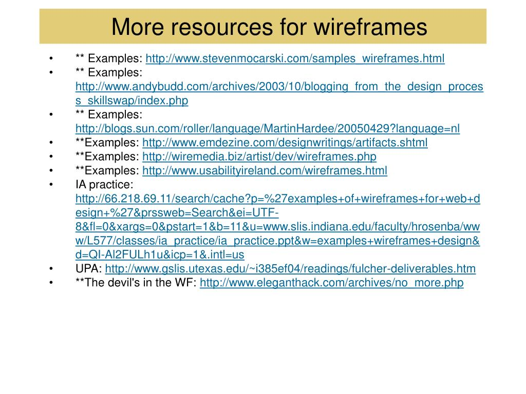More resources for wireframes