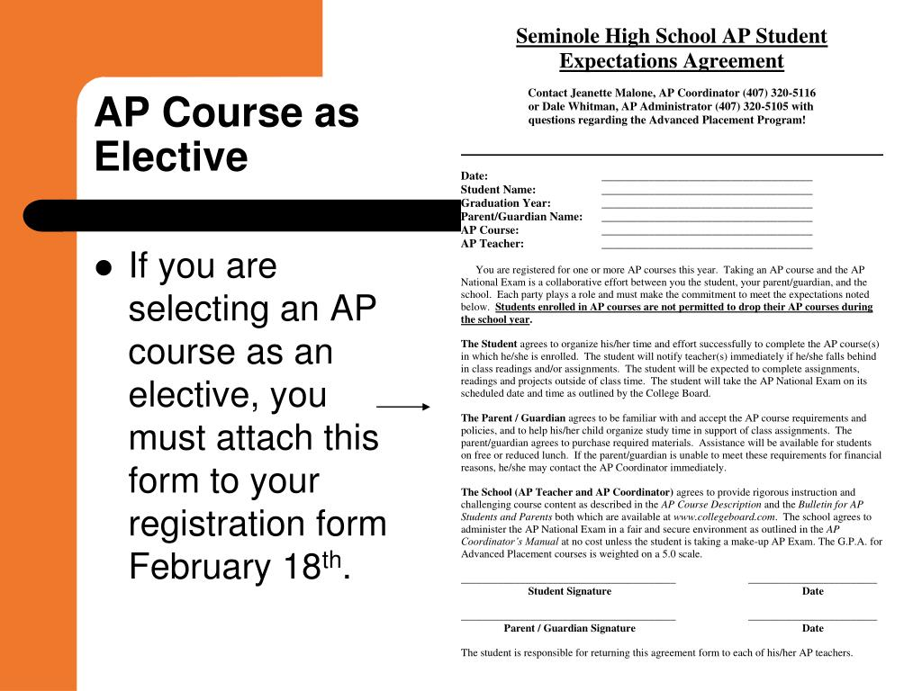 If you are selecting an AP course as an elective, you must attach this form to your registration form February 18