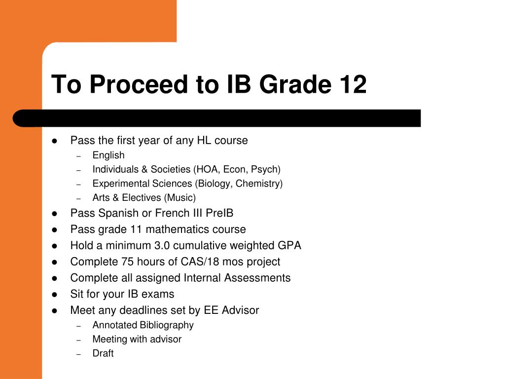 To Proceed to IB Grade 12