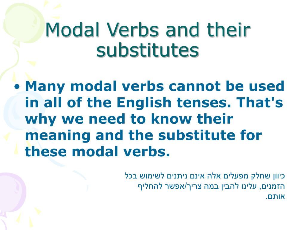 modals modal verb and substitute form We can substitute do n't (can 't) for do not (can not) modals have the same form every time regardless the subject we do not add an -s to the infinitive.
