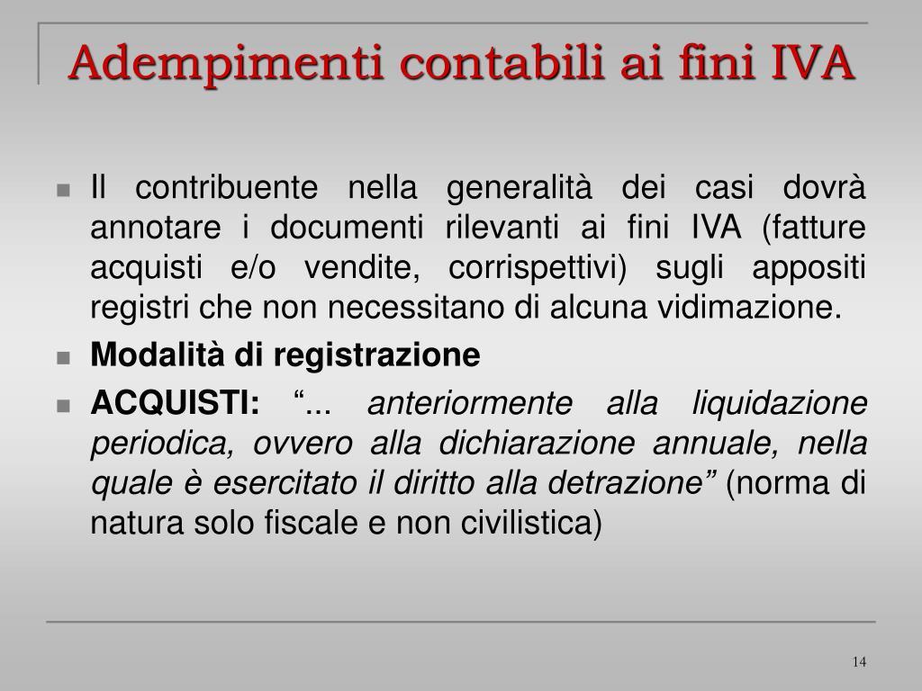 Adempimenti contabili ai fini IVA
