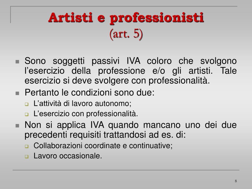 Artisti e professionisti
