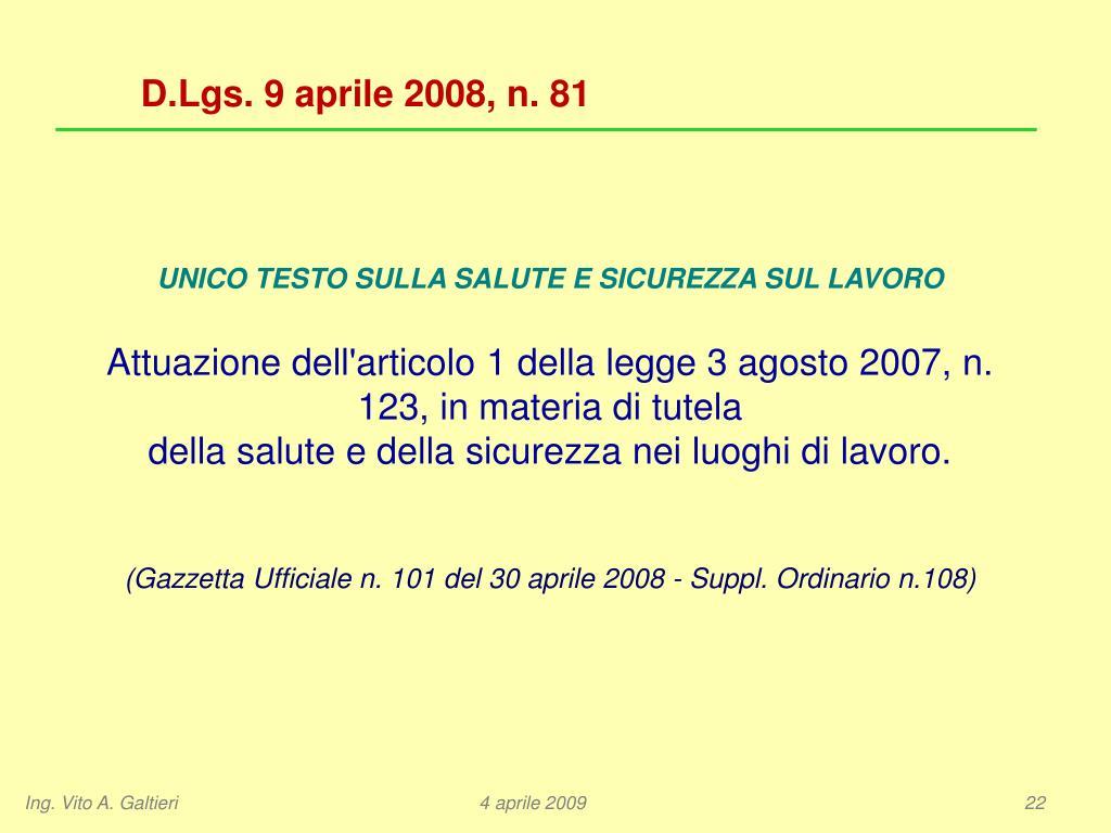 D.Lgs. 9 aprile 2008, n. 81