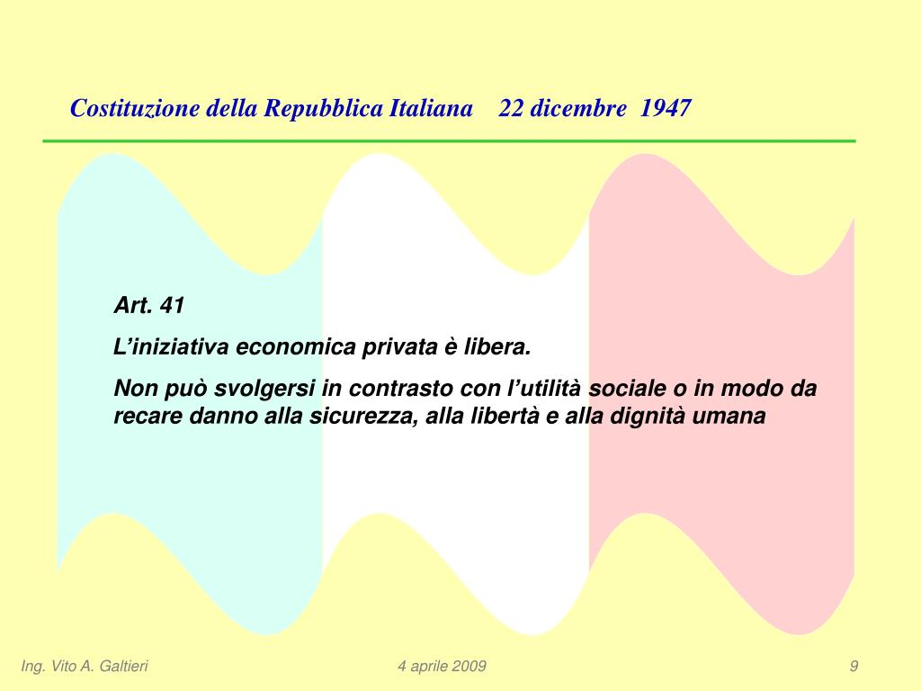 Costituzione della Repubblica Italiana    22 dicembre  1947