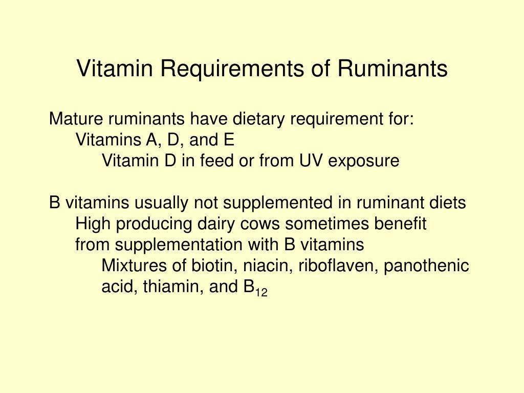 Vitamin Requirements of Ruminants