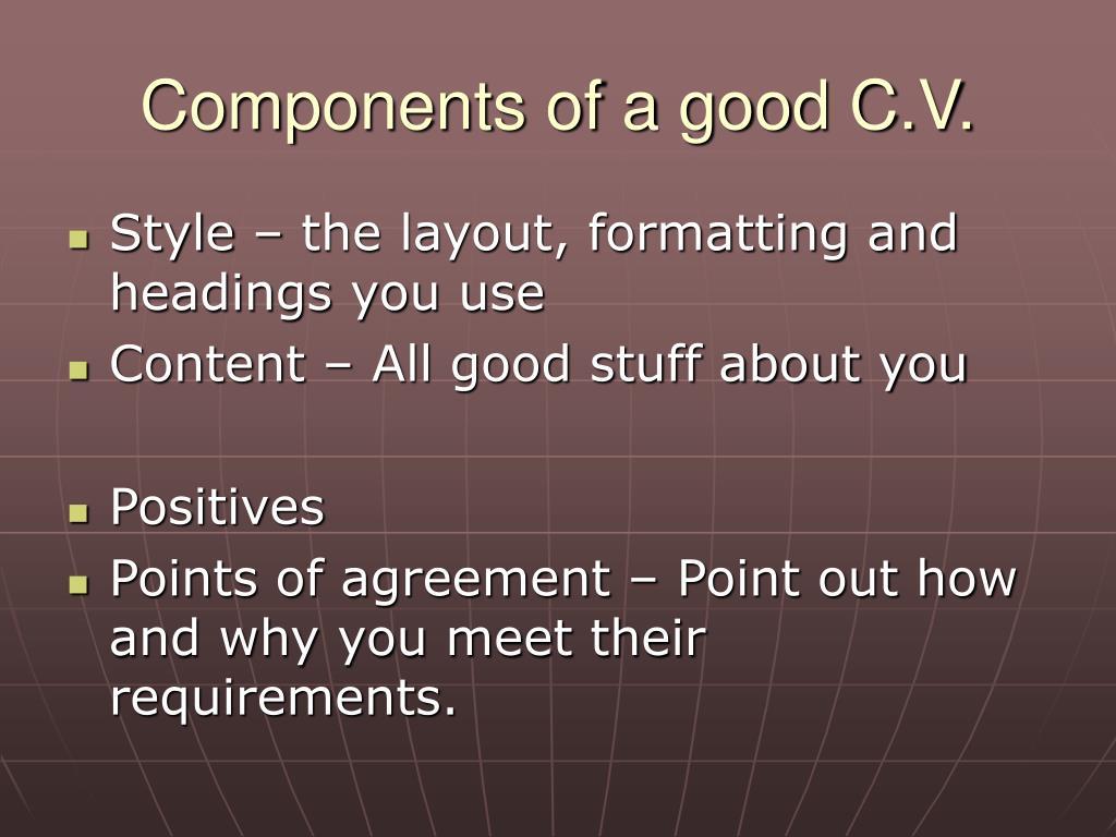 Components of a good C.V.
