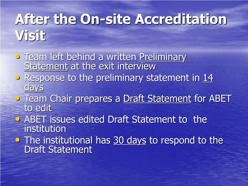 After the On-site Accreditation Visit