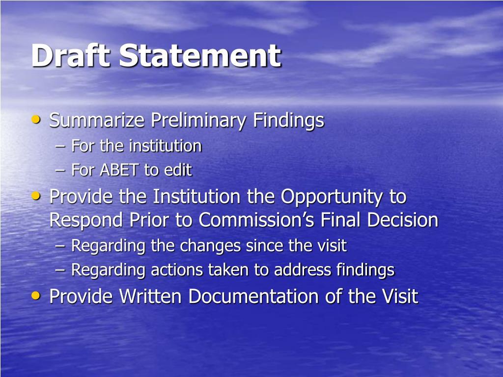 Draft Statement