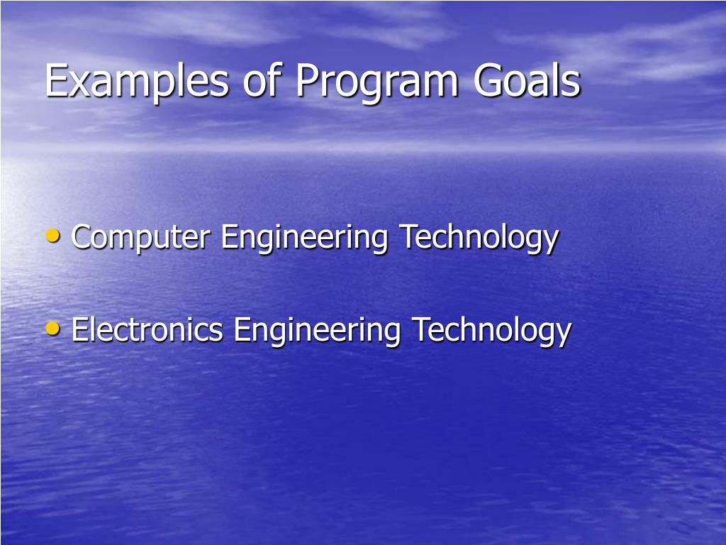 Examples of Program Goals