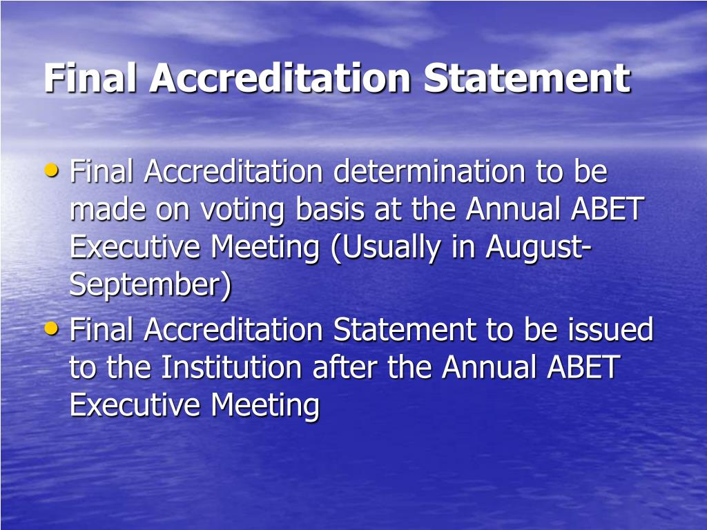 Final Accreditation Statement