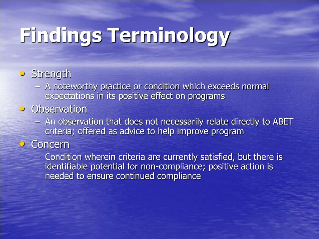 Findings Terminology