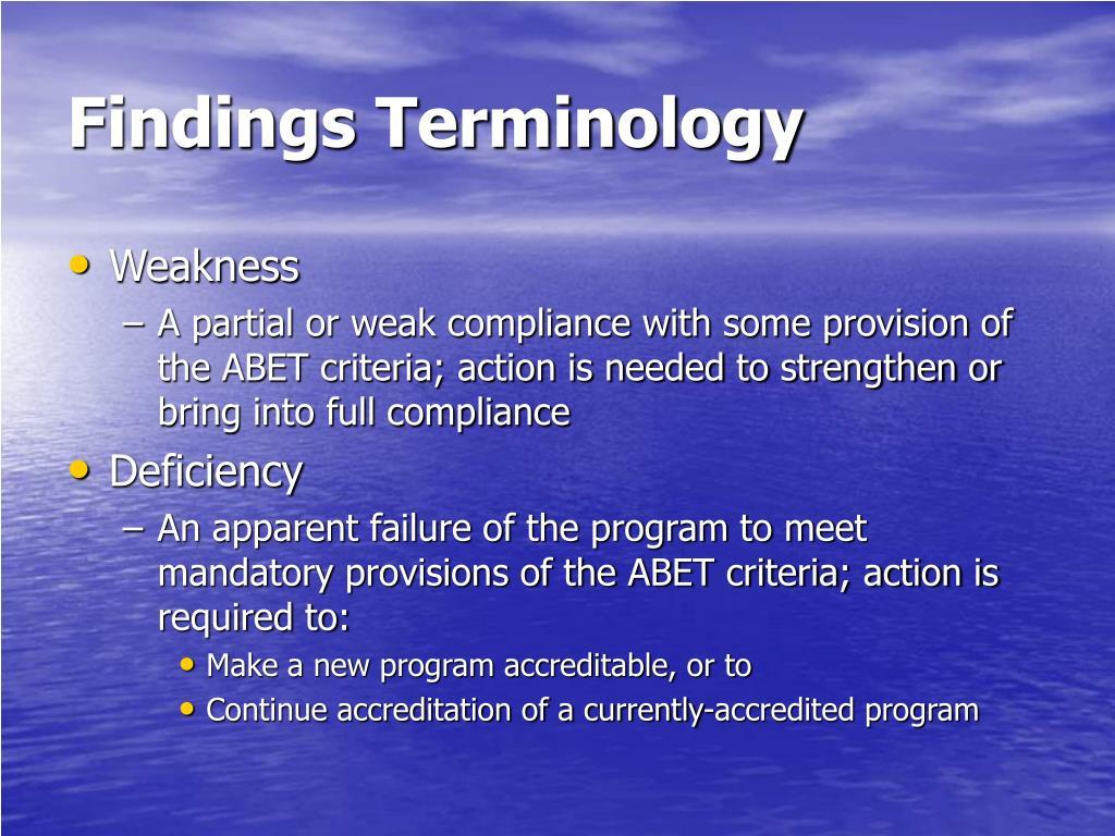 Findings Terminology