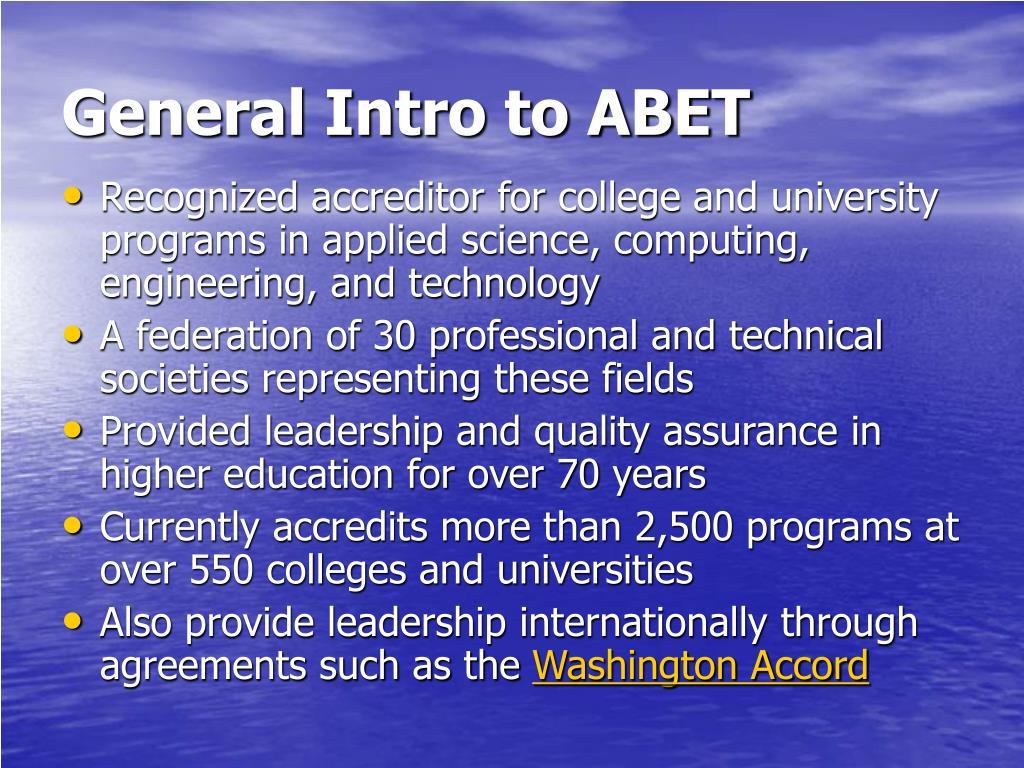 General Intro to ABET