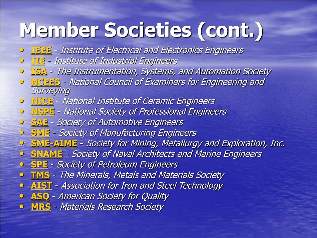 Member Societies (cont.)