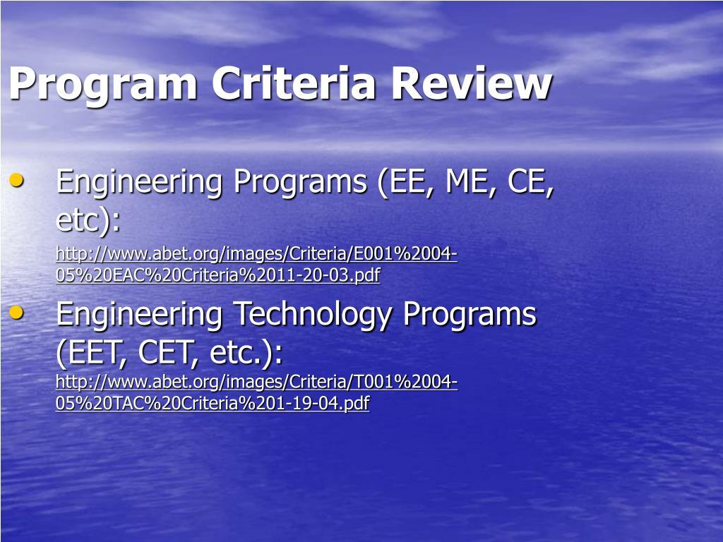 Program Criteria Review