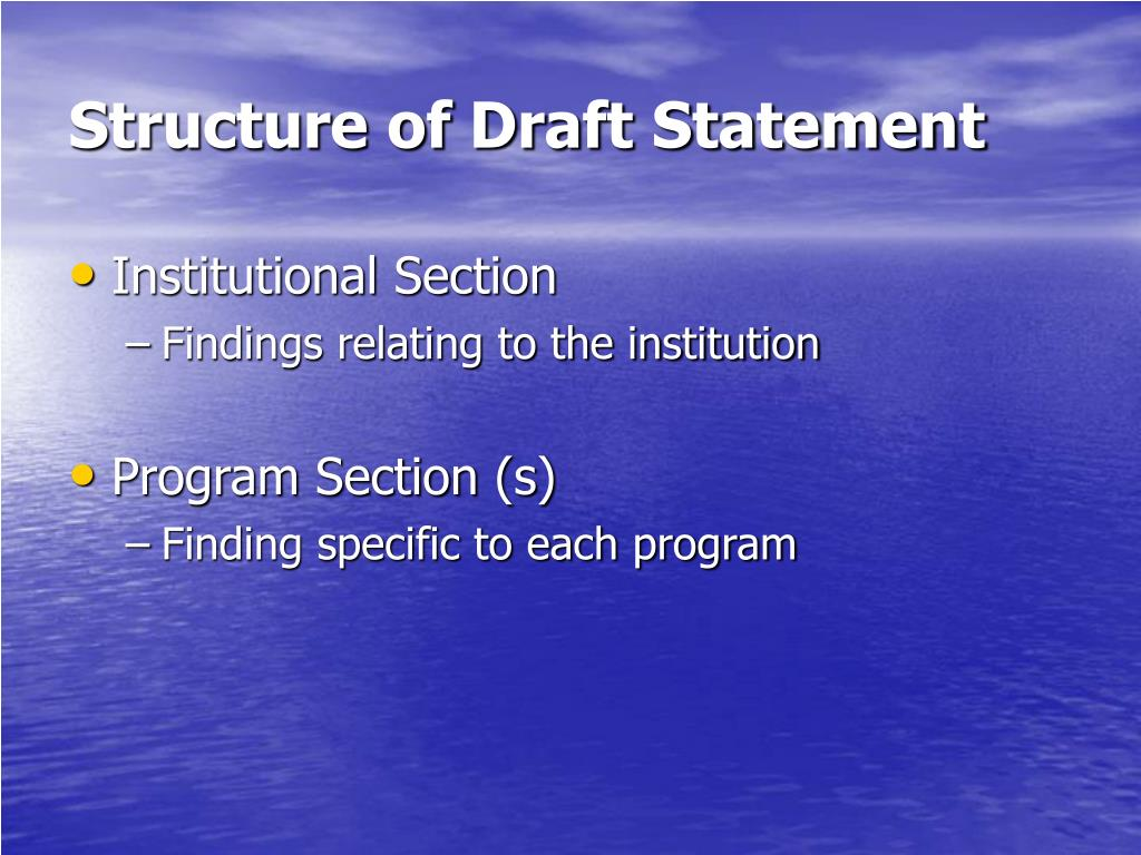 Structure of Draft Statement