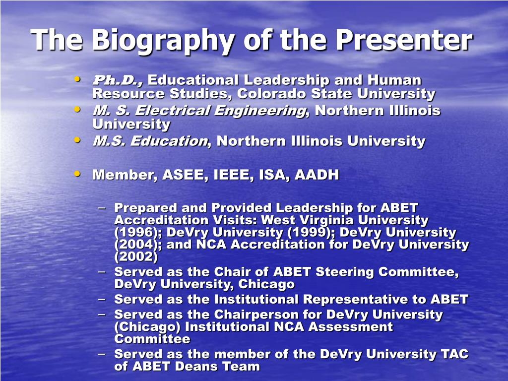 The Biography of the Presenter