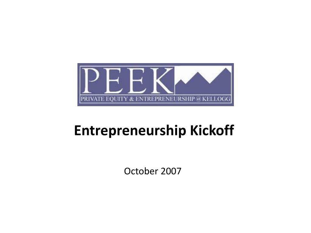 Entrepreneurship Kickoff