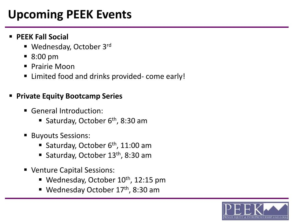 Upcoming PEEK Events