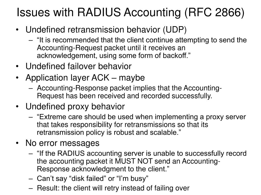 Issues with RADIUS Accounting (RFC 2866)