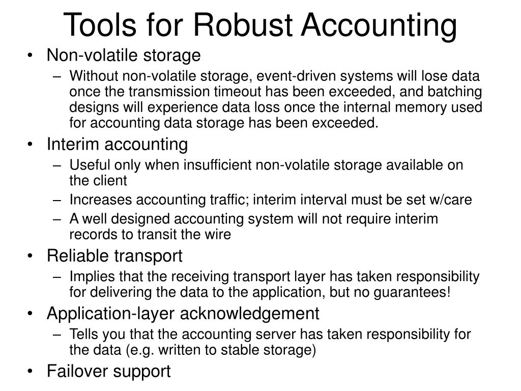 Tools for Robust Accounting