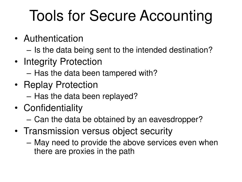 Tools for Secure Accounting