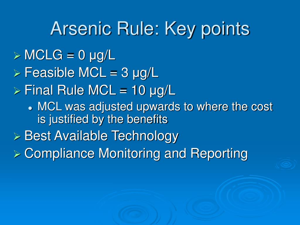 Arsenic Rule: Key points