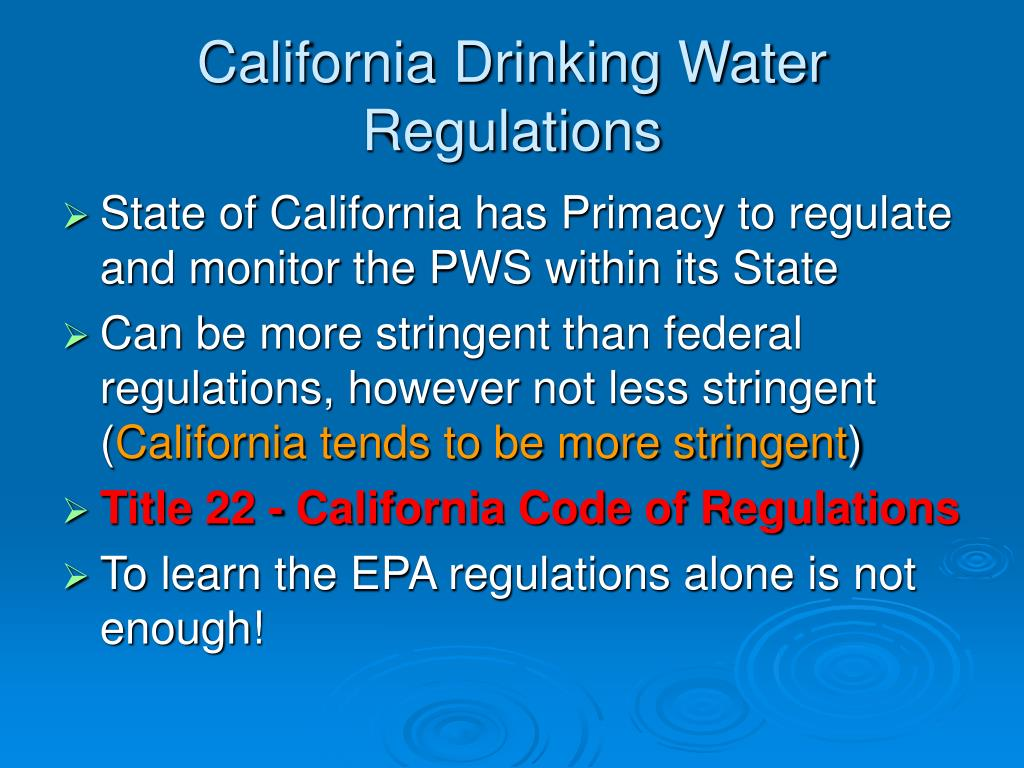 California Drinking Water Regulations