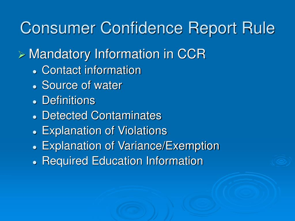 Consumer Confidence Report Rule