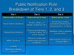 public notification rule breakdown of tiers 1 2 and 3