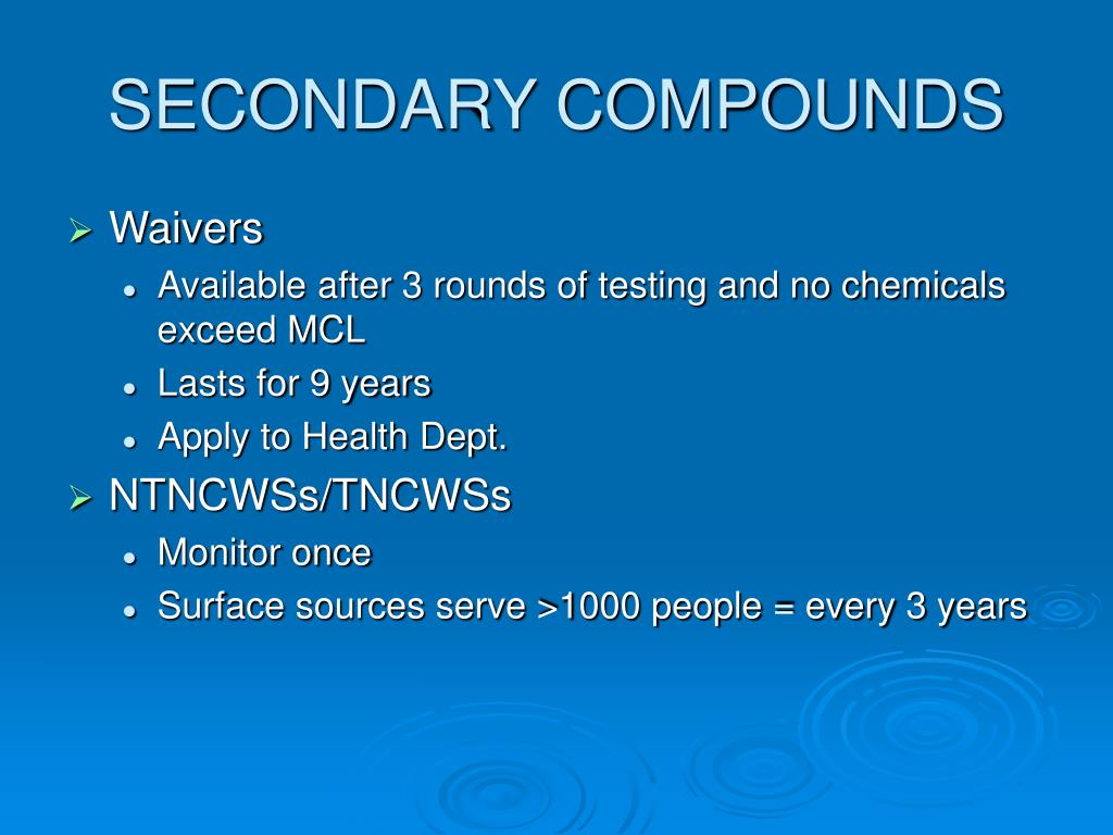 SECONDARY COMPOUNDS