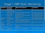 stage 1 dbp rule monitoring