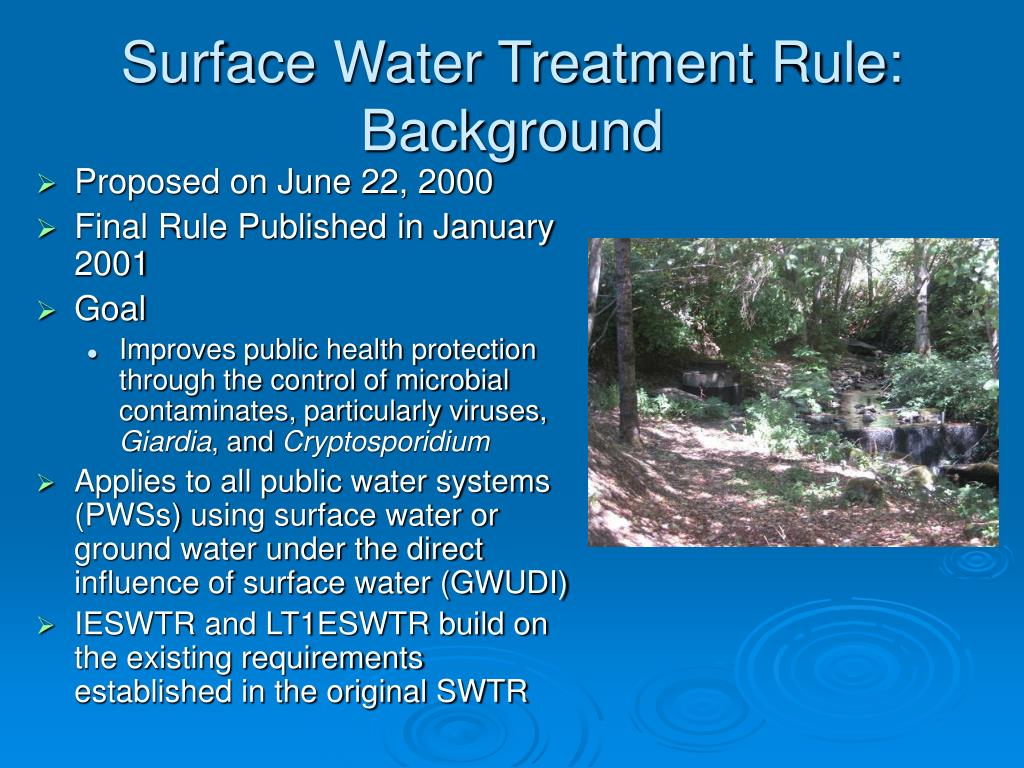 Surface Water Treatment Rule: Background
