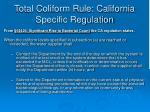 total coliform rule california specific regulation
