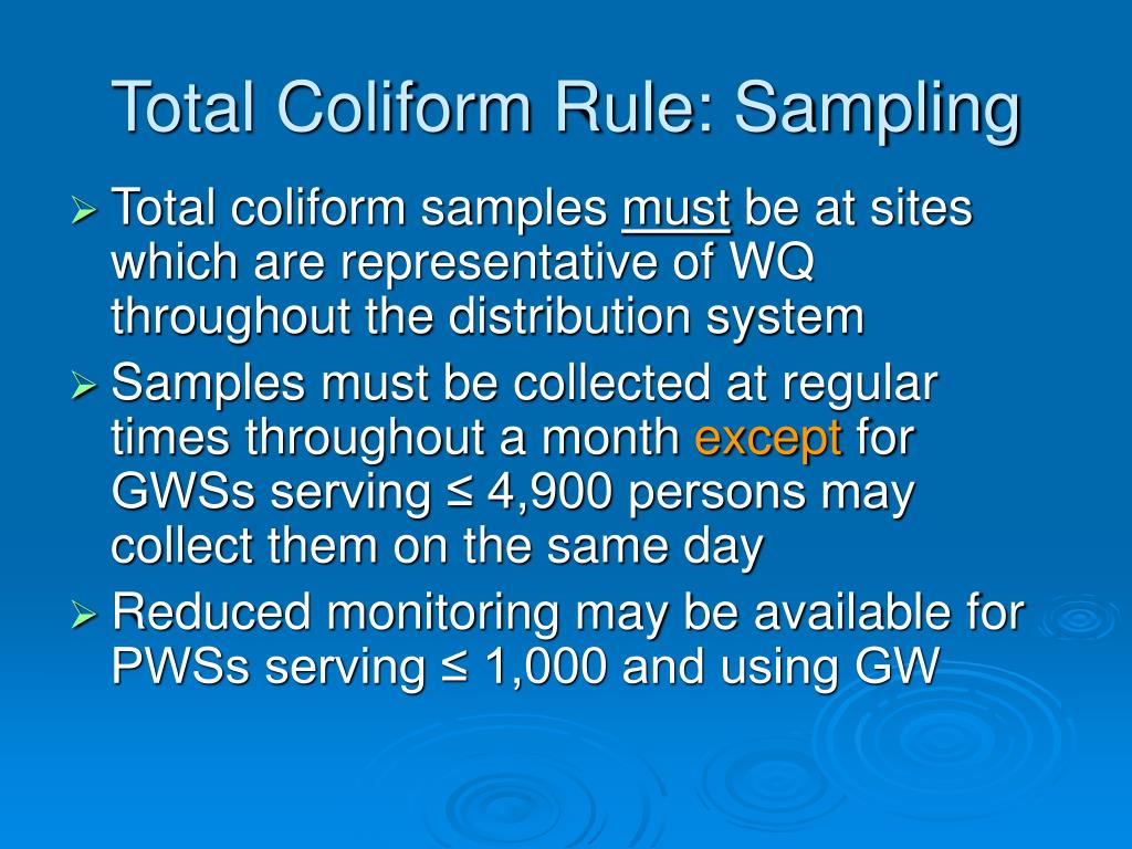Total Coliform Rule: Sampling