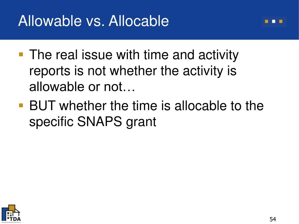 Allowable vs. Allocable