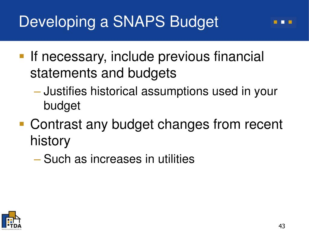 Developing a SNAPS Budget