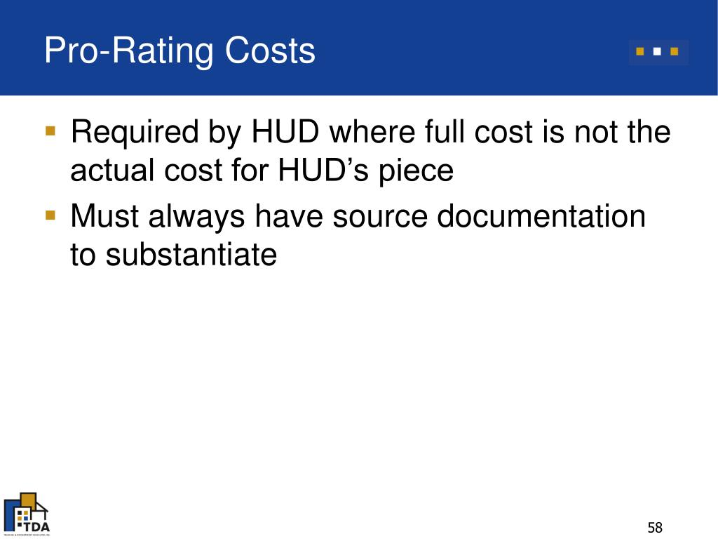 Pro-Rating Costs