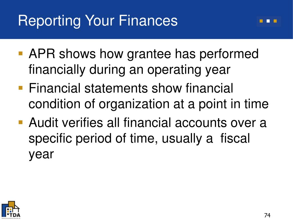 Reporting Your Finances